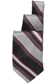 Black/Silver/Burgundy Striped Tie