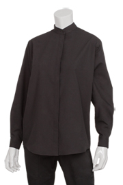 Womens Banded Collar Shirt: Black
